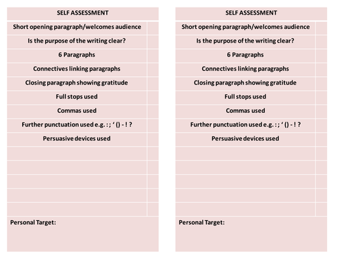 Transactional Writing Self Assessment Sheets