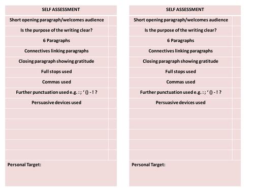 Transactional Writing Self Assessment Sheets