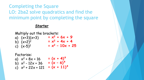 Completing the Square Fully differentiated by rpwelch32 – Completing the Square Worksheets