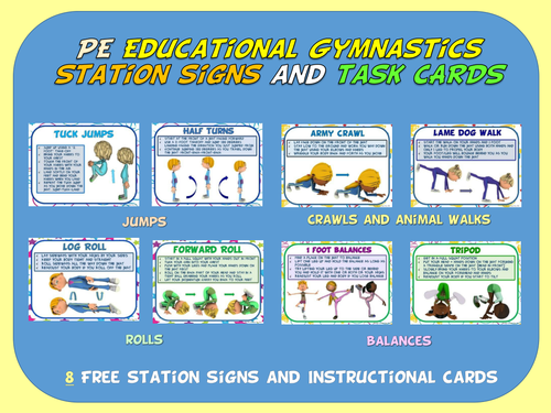 PE Educational Gymnastics Station Signs and Task Cards- 8 FREE Signs and Cards