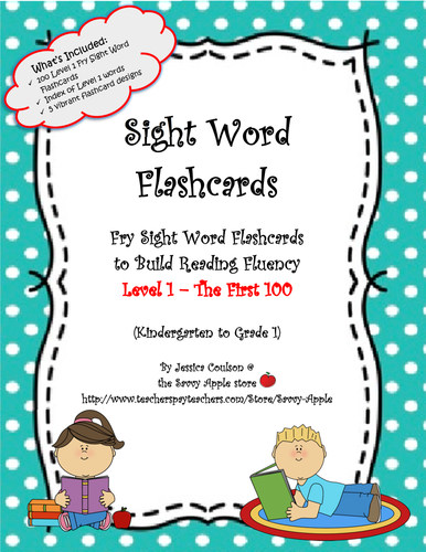 Sight Word Flashcards - 100 Level 1 Fry Sight Word Flashcards for Reading Fluency