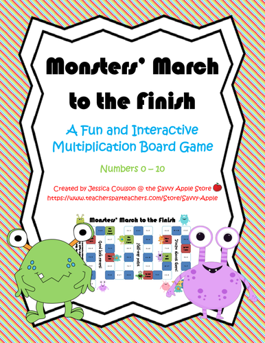 Multiplication Board Game - Monsters' March to the Finish