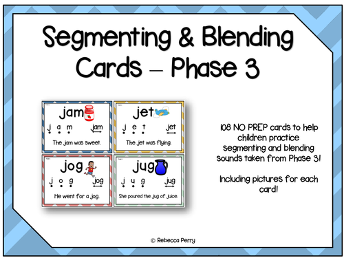 Phase 3 Segmenting & Blending - English- Phonics & Reading! 108 NO PREP Cards!