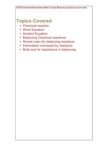 Balancing Chemical Reaction  Rules and Word and Symbol reactions_IGCSE_Chemistry