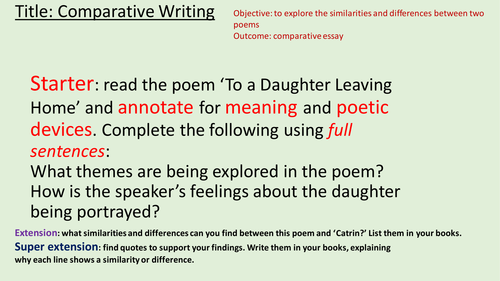 Outstanding English Lesson.  Comparative Writing in Poetry