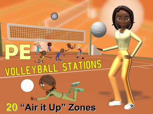 "PE Volleyball Stations- 20 ""Air it Up"" Zones"