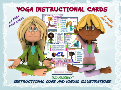 "YOGA Instructional Cards- ""Kid Friendly"" Cues and Visual Illustrations"