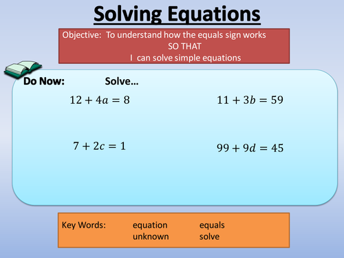 Solving Equations - Variable on Both Sides by amisonmj - Teaching ...
