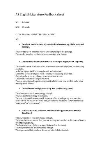 OCR AS Feedback sheet