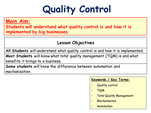 Quality Control & Total Quality Management (TQM) - Operations - Business  Studies - PPT & Worksheet