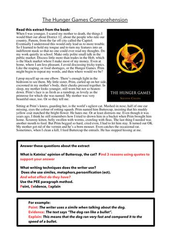 Hunger Games Comprehension Worksheet
