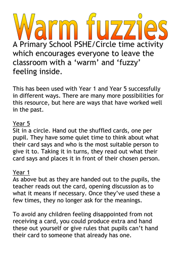 Warm Fuzzies Pshe Circle Time Game By Carolwashy