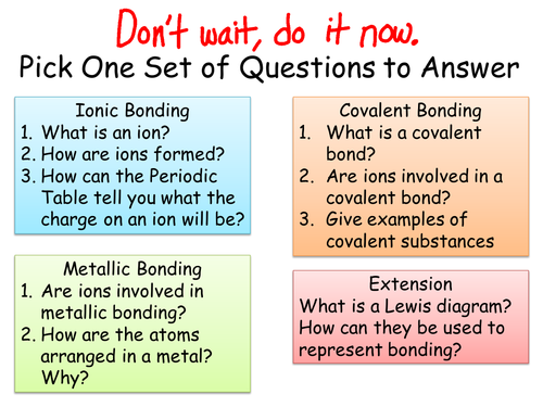 Ionic Covalent And Metallic Bonding Teaching Resources