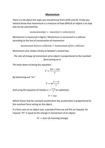 AQA A-level Physics: Momentum (notes and question booklet)