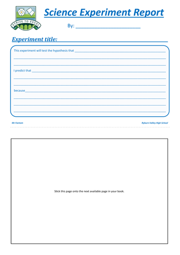 Science Experiment Report Practical Planning & Write-up sheet