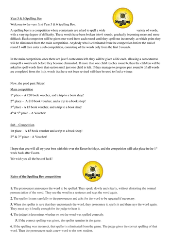 Year 5 and 6 spelling bee letter template and words by markpollard7 year 5 and 6 spelling bee letter template and words by markpollard7 teaching resources tes spiritdancerdesigns Images