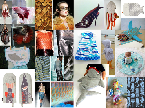 Mood boards for AQA pre-released material 2016 - products inspired by marine life