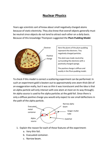 AQA A-level Physics: Nuclear (notes and question booklet) recently updated