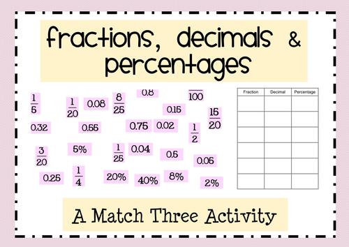 Fractions, Decimals & Percentages Match Three!