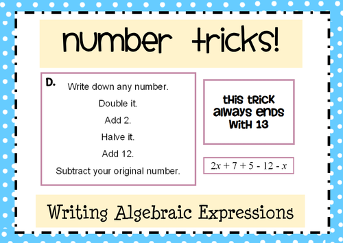 Number Tricks: Writing Algebraic Expressions Activities