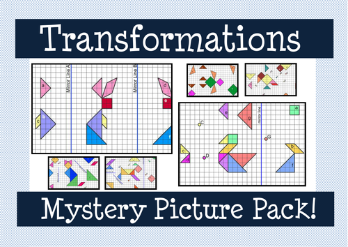Transformations Mystery Picture Pack by MathspadUK Teaching – Combined Transformations Worksheet