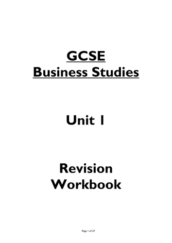 HOME School PACK- EDEXCEL GCSE Business Studies Theme 1