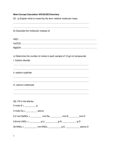Worksheets The Mole And Volume Worksheet mole calculation molar mass volumes limiting reagent worksheet igcse chemistry by husain1pipl teaching resources tes