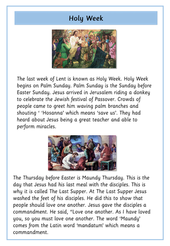 Holy Week and Easter : Information Sheet and Comprehension Questions