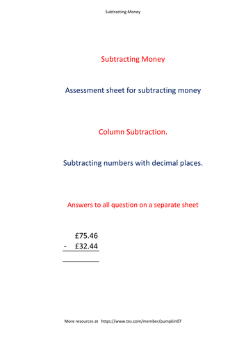 Subtracting money worksheet with decimal column substraction. Pack #1 (36 Questions with Answers)