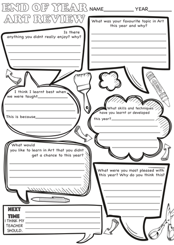 Art End Of Year Review Sheets By Rnd86 Teaching Resources Tes