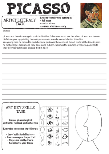 Picasso worksheet with Literacy Task