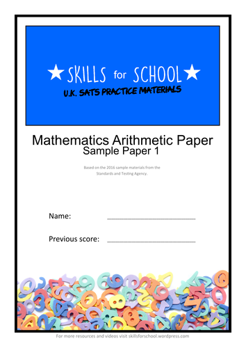 PRACTICE ARITHMETIC SATS PAPER #001 by Skills for School