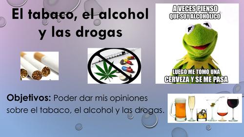El tabaco el alcohol y las drogas - advice, vocabulary & pronunciation