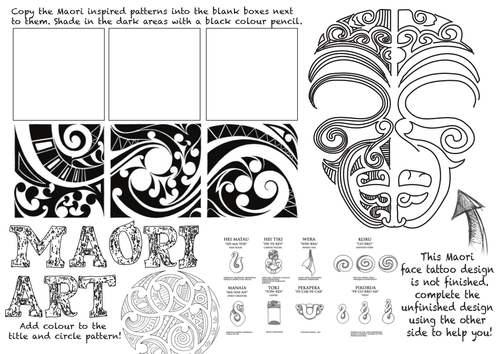 Maori Art Worksheet By Rnd86 Teaching Resources Tes