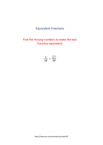 Equivalent fractions.  Assessment resource with a total of 42 questions with answers.