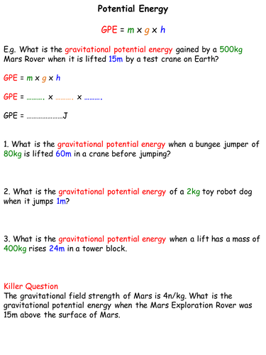 Gravitational Potential & Kinetic Energy - Differentiated for SEN by ...