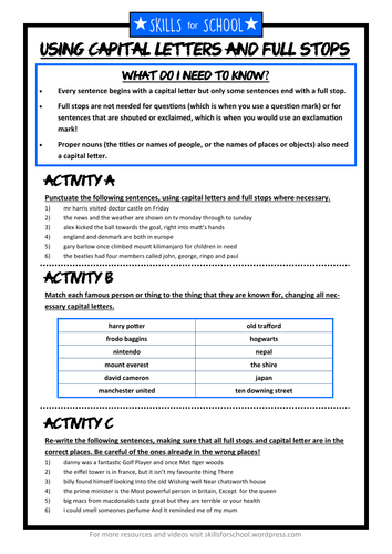 CAPITAL LETTERS & FULL STOPS PRACTICE (with answers) by Skills for School