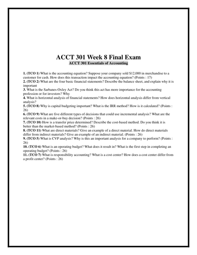 ACCT 301 Week 8 Final Exam (Practice Questions & Answers)