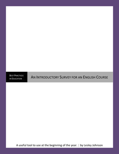 Introductory Survey for English Courses