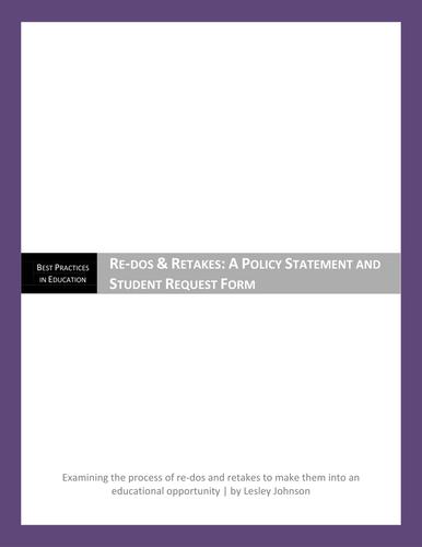 Instructor's Redos/Retake Policy