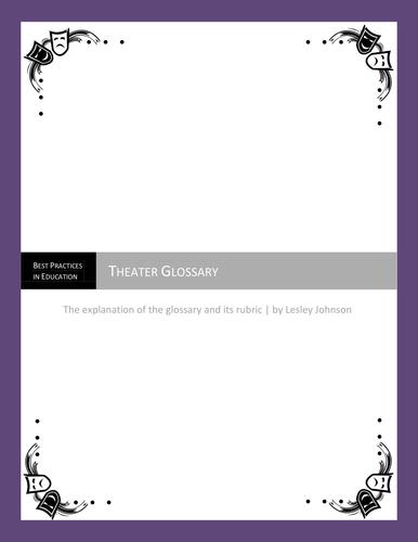 Theater Glossary & Rubric