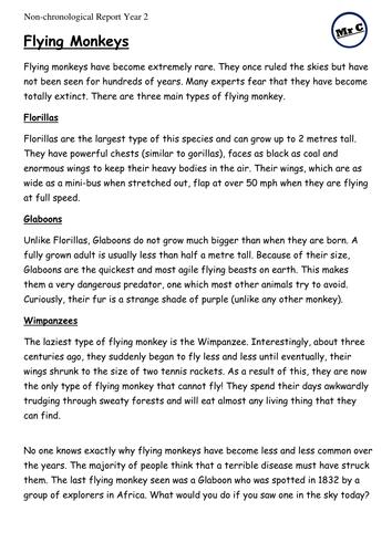 Year 2 Non-Chronological Report Writing Model - Flying Monkeys (Spring/Summer Term)