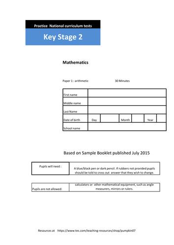 KS2 Sample Arithmetic Paper.  36 Questions