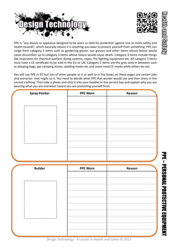 Health and Safety Worksheet - PPE Personal Protective Equipment