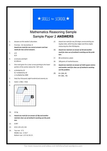 PRACTICE REASONING SATS PAPER #002 by Skills for School