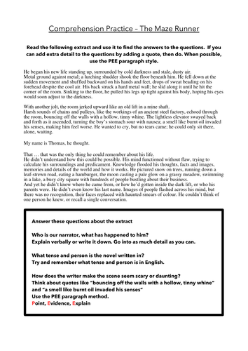The Maze Runner Comprehension By Keyglow200 Teaching border=