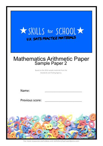 PRACTICE ARITHMETIC SATS PAPER #002 by Skills for School