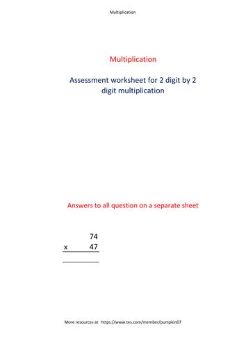 Two digit by two digit multiplication Worksheet