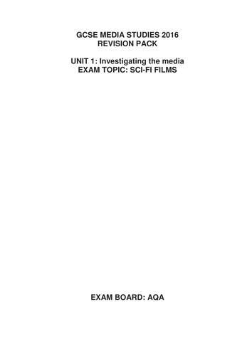 AQA GCSE MEDIA - SCI-FI REVISION BOOKLET
