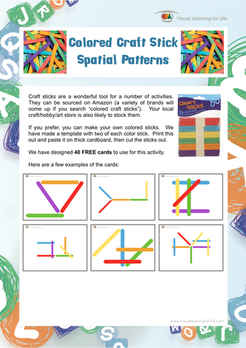 Coloured Craft Stick Spatial Patterns